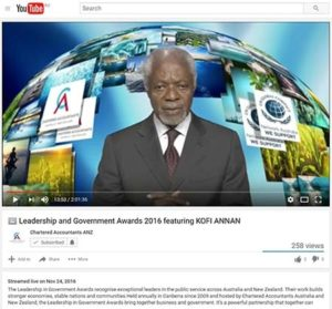 Australian Chartered Accountants live from Canberra to YouTube with Kofi Annan in Zurich