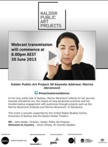 Marina Abramovic presenting for Kaldor Public Art Projects