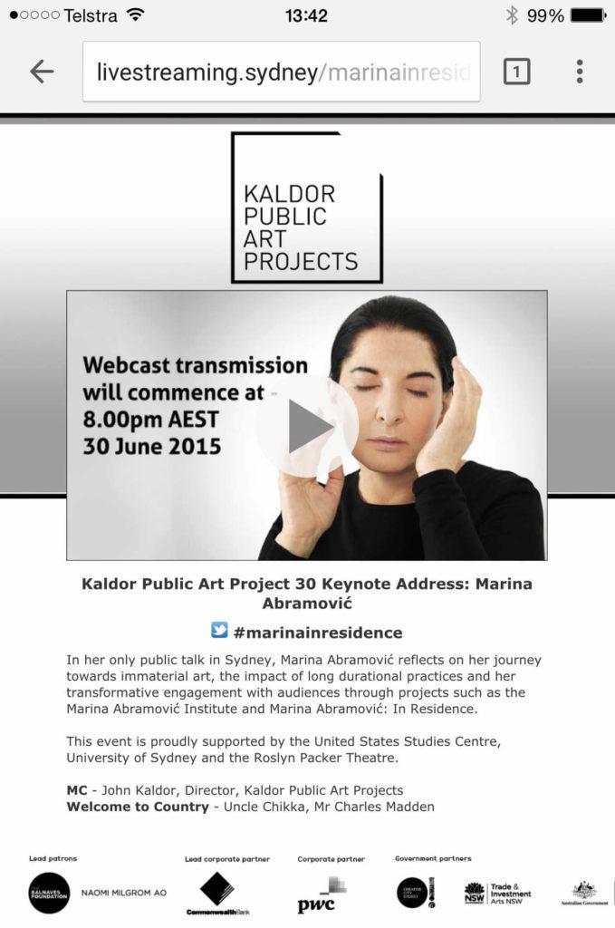 Marina Abramovic for Caldor Arts
